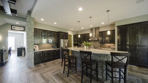 Custom kitchen in Villages of Winding Creek. Built by Design Homes and Development.