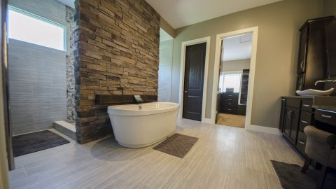 Custom master bathroom in Villages of Winding Creek. Built by Design Homes and Development.