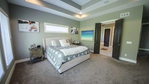 Custom master bedroom in Villages of Winding Creek. Built by Design Homes and Development.