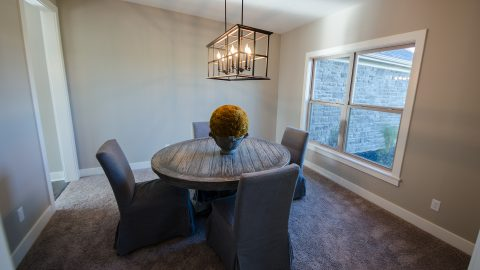 Custom dining room in Chadwick's Claim. Built by Design Homes & Development.