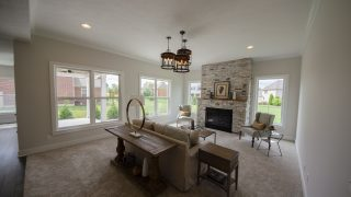 Great Room of the Arianna in Saddle Creek by Design Homes