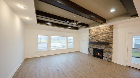 Custom great room of home in Soraya Farms. Built by Design Homes & Development.