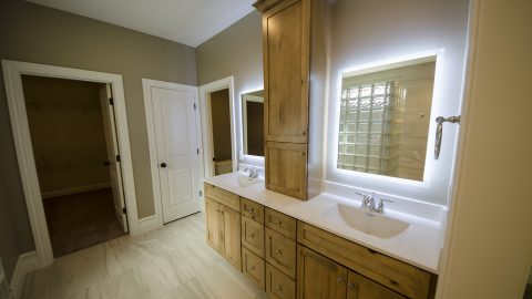 Custom master bathroom in a Soraya Farms patio home.