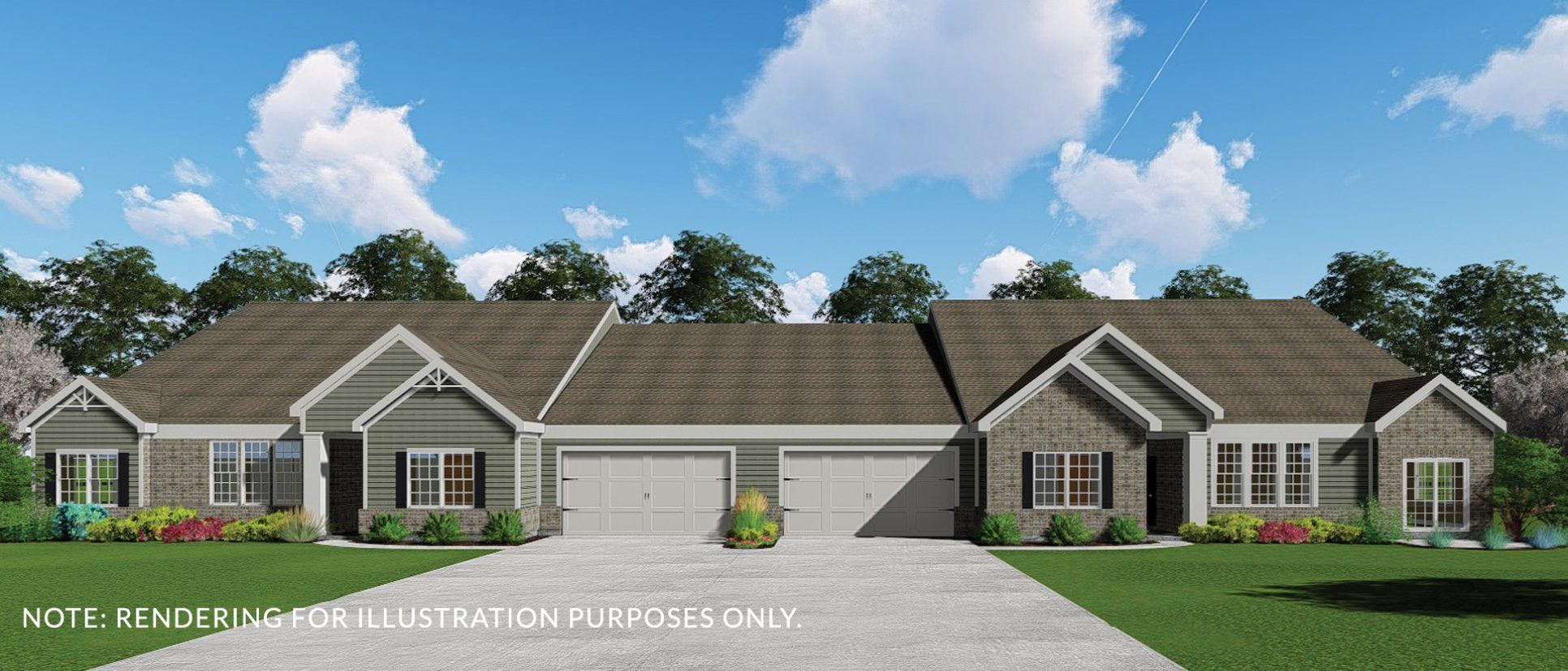 Exterior rendering of The Abbington. A condo in Soraya Farms, custom built by Design Homes and Development.