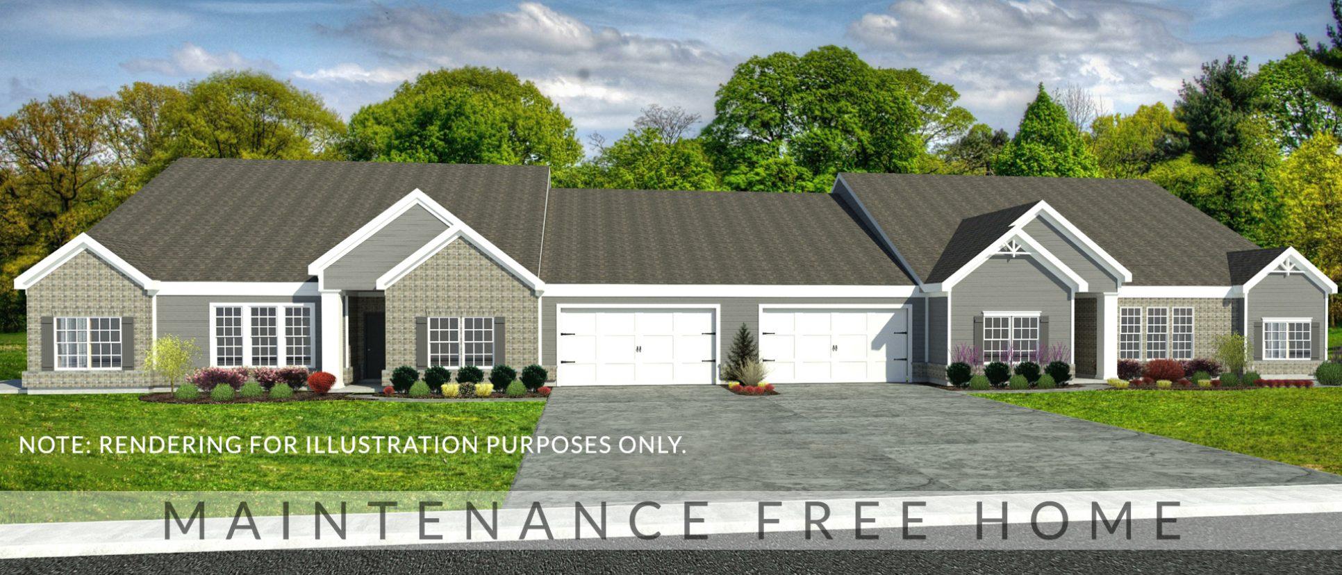 Exterior rendering of The Abbington. A condo in Soraya Farms, custom built by Design Homes and Development.