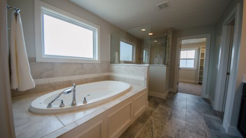 Custom master bathroom in The Amber. Built by Design Homes & Development.