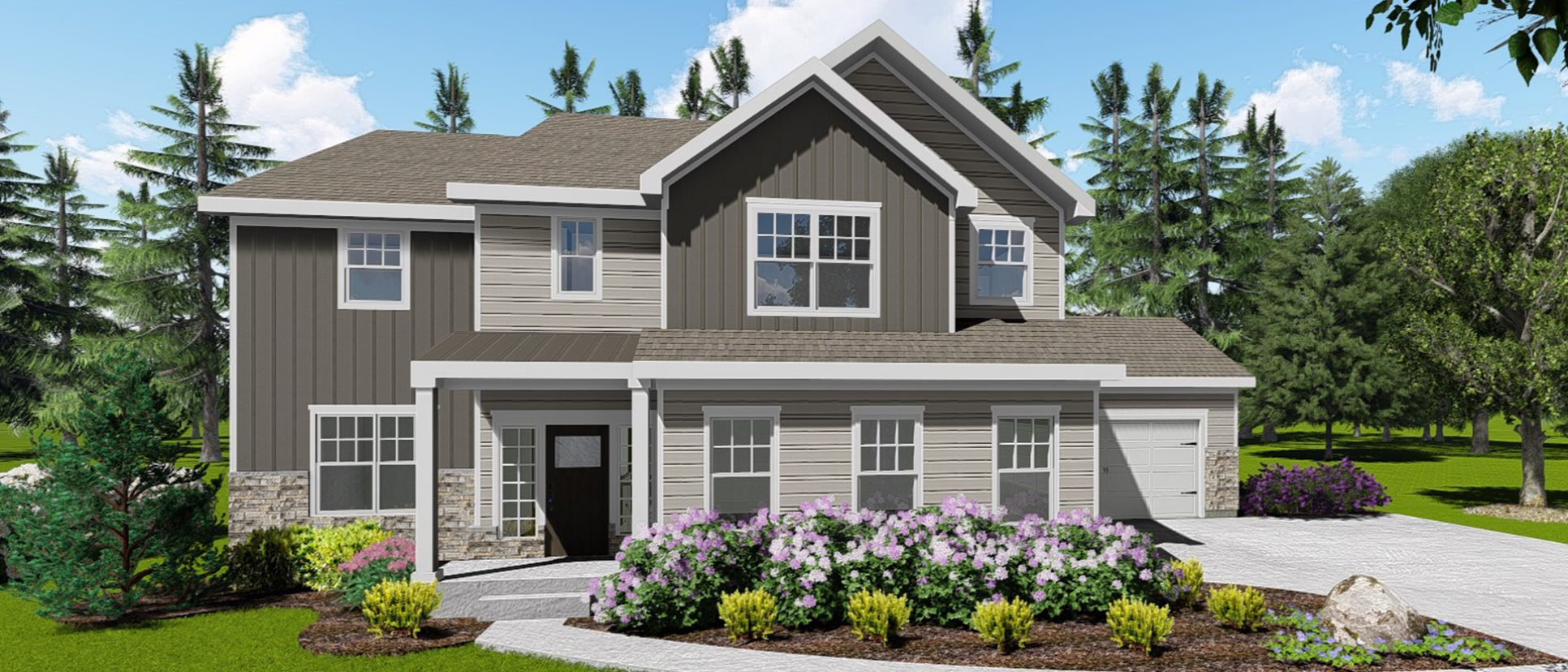 Custom exterior rendering of lot 168 Cypress Ridge, The Amber. Built by Design Homes and Development.