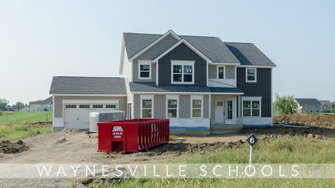 Custom exterior of The Amber, under construction. Built by Design Homes.