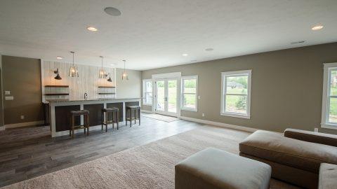 Custom basement in Saddle Creek by Design Homes and Development.