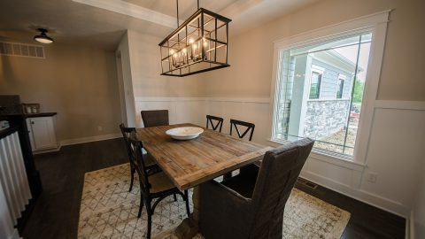 Custom dining room in the Arianna. Built by Design Homes & Development.