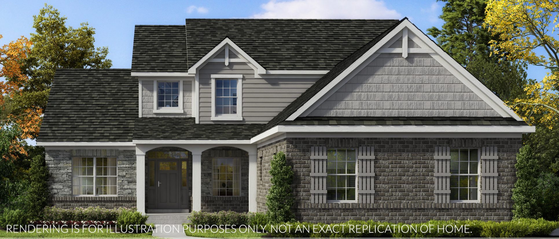 Exterior rendering of The Arianna. A custom home in Saddle Creek, custom built by Design Homes and Development.