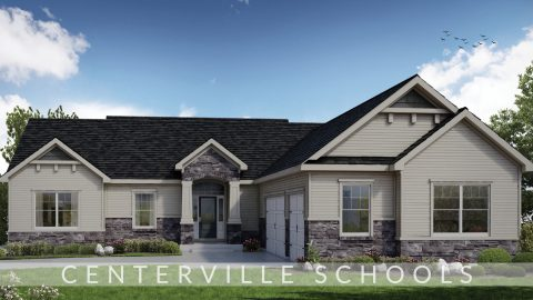 Custom exterior rendering of The Austin. Located in Bridle Creek Ranch.