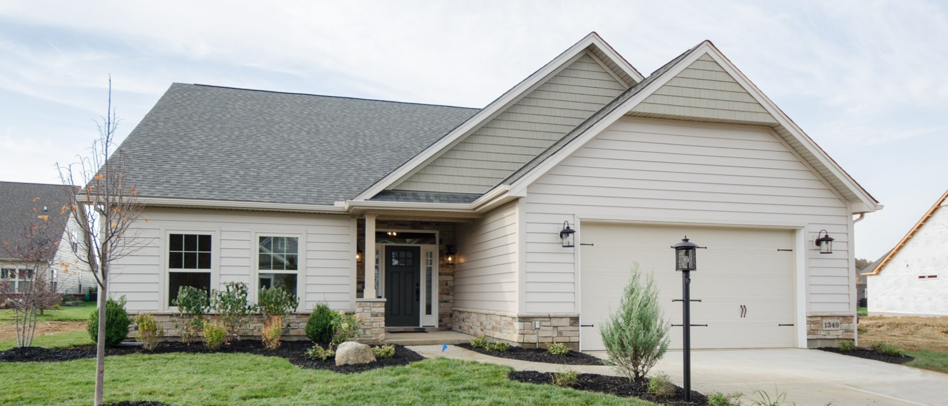 Custom exterior in The Jocelyn at Soraya Farms. A custom move-in ready home by Design Homes and Development.