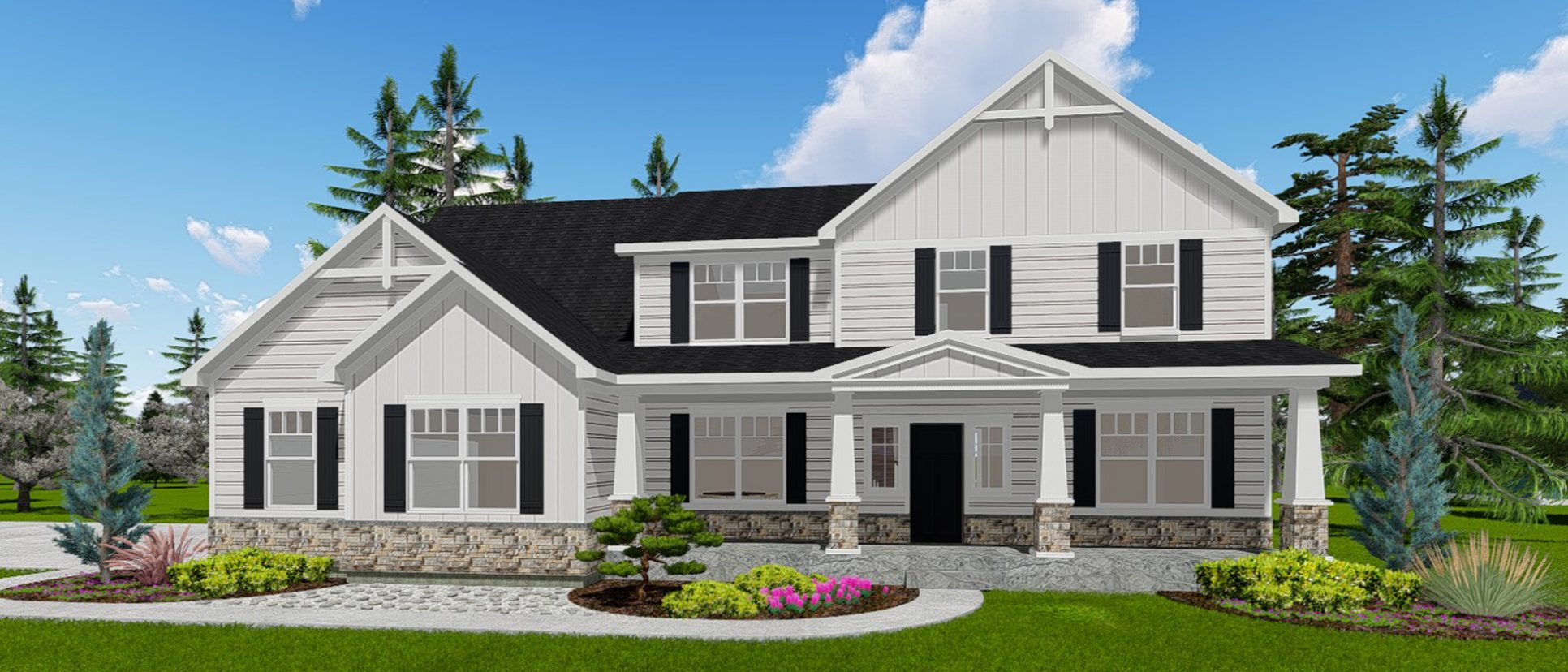 Custom exterior rendering of The Lexington. By Design Homes & Development.