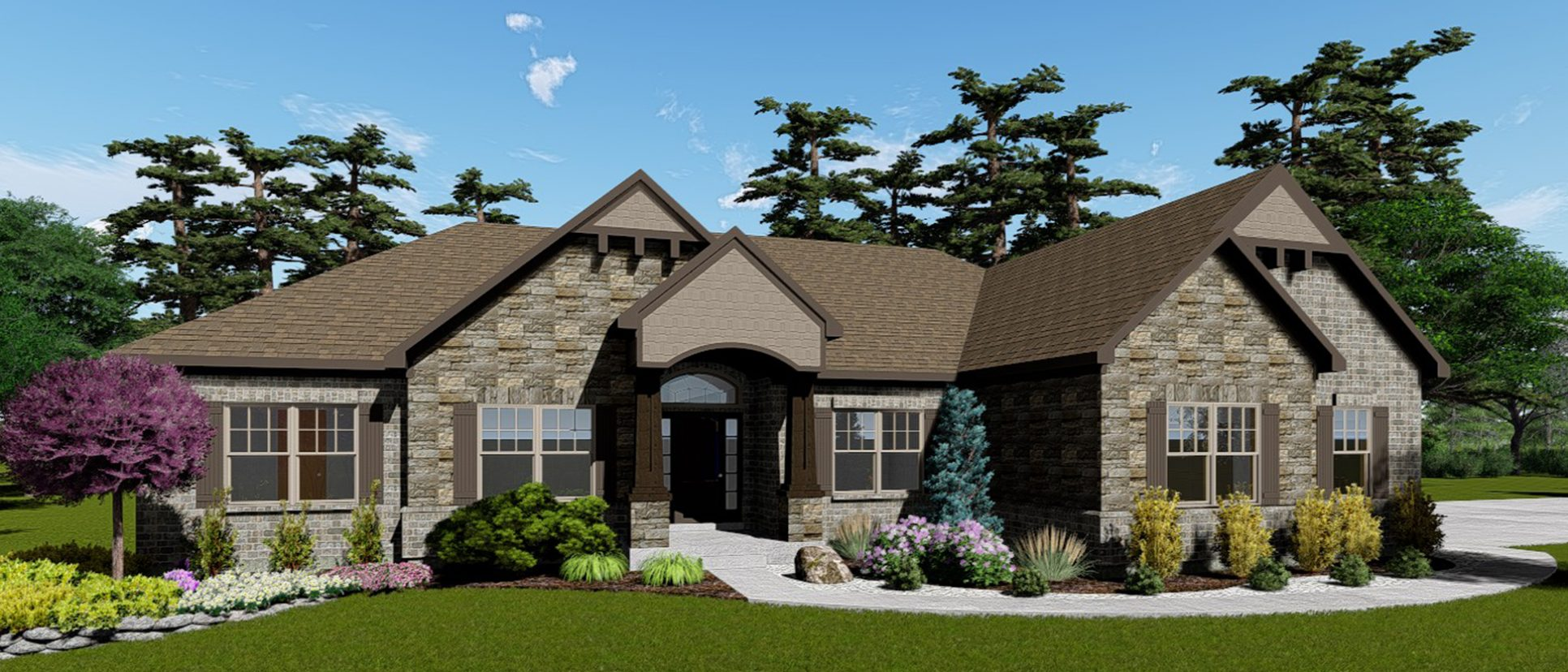 A rendering of The Logan, a custom new home in Cypress Ridge. Built by Design Homes & Development.