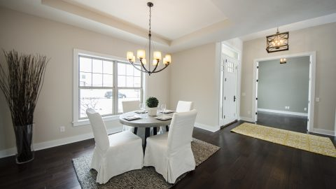 Custom dining room in the Shiloh. Built by Design Homes & Development.