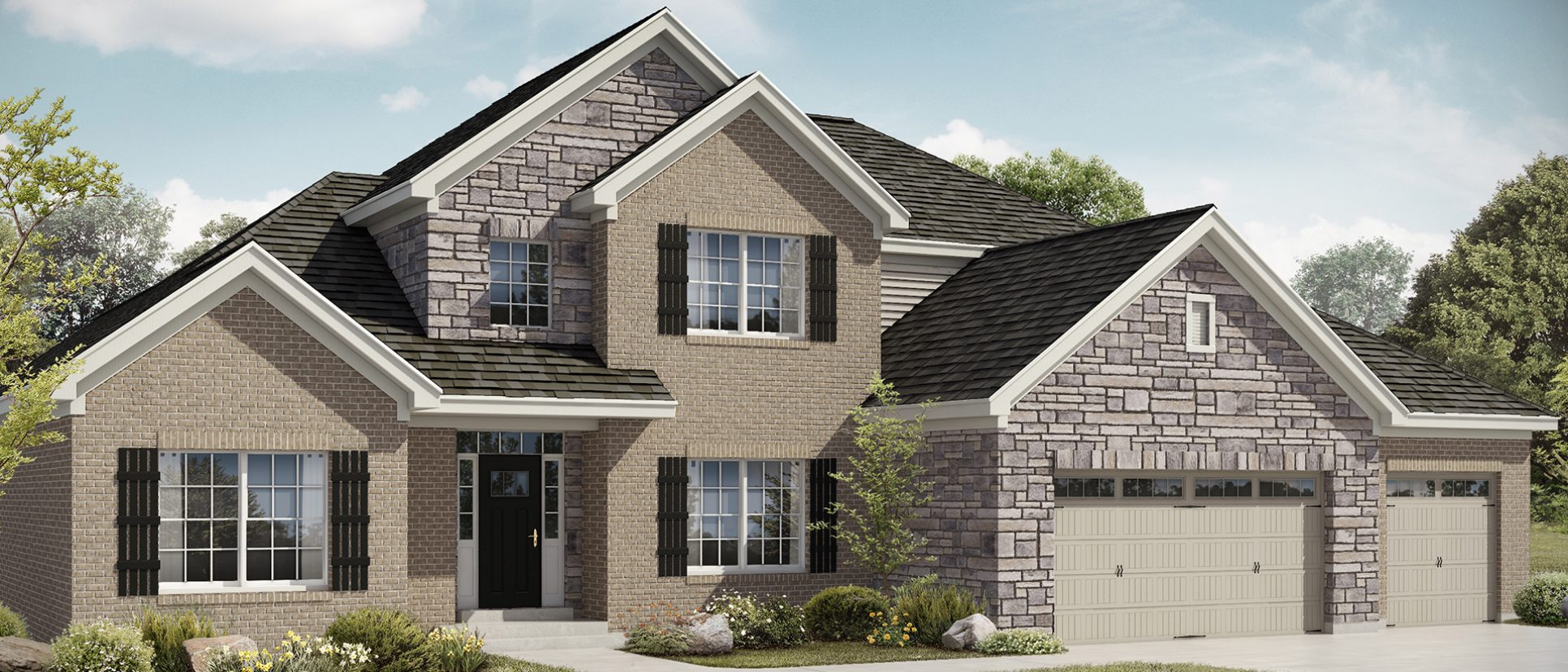 Rendering of The Triple Crown in Bridle Creek Ranch. A custom home by Design Homes and Development.