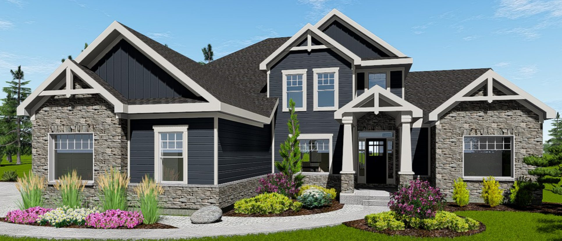 Custom exterior of the Triple Crown in Cypress Ridge. By Design Homes & Development.