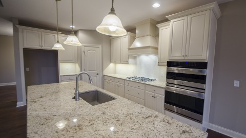 Custom kitchen in a Soraya Farms single family home. Built by Design Homes.
