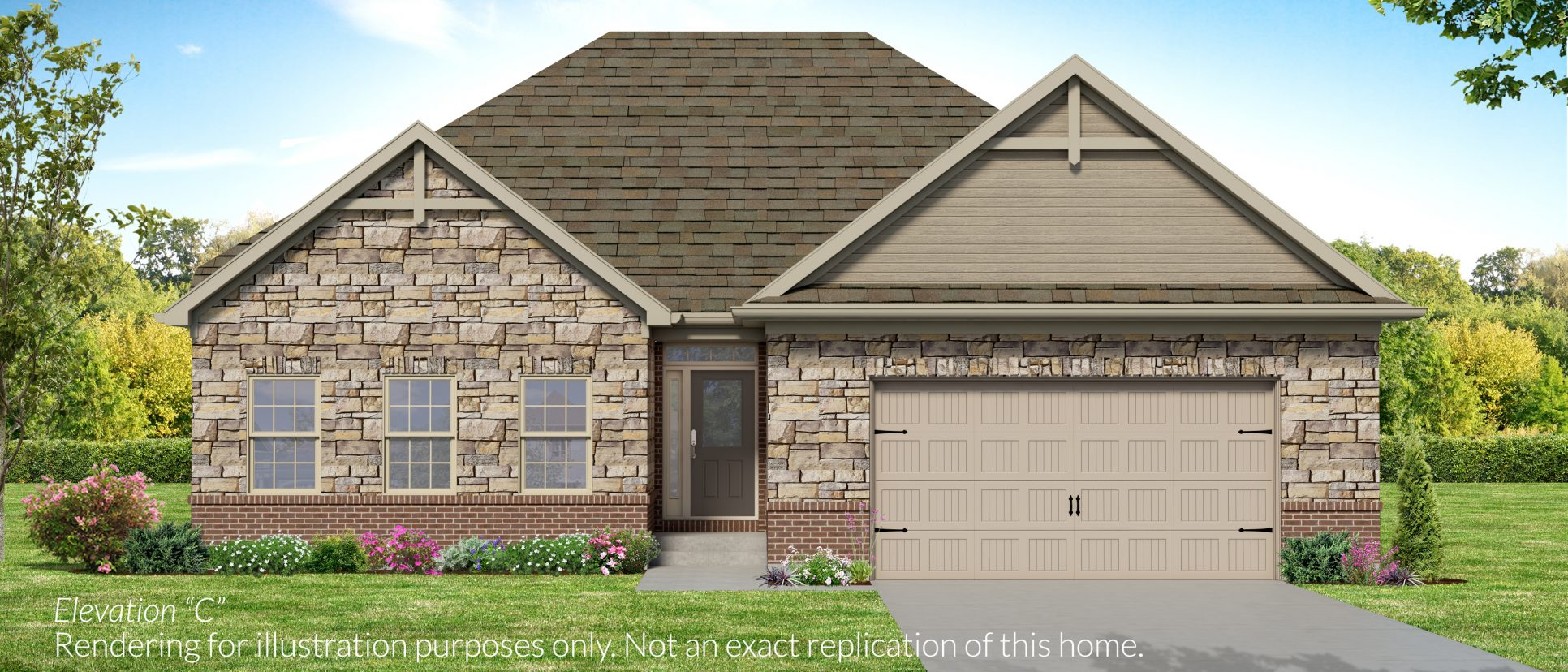Custom exterior of the standard Jackson. A standard plan by Design Homes and Development.