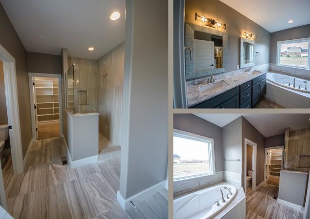 The Triple Crown custom master bathroom by Design Homes, custom home builder.
