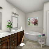 Custom bathroom of the Triple Crown in Cypress Ridge. By Design Homes & Development.