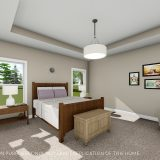 Custom master bedroom of the Triple Crown in Cypress Ridge. By Design Homes & Development.